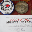 1981 london marathon badge and medal by mark kleanthous