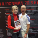 Paula Newby Fraser 8 x Ironman world champion with Mark Kleanthous at the London Triathlon Show 2015