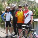 IronMate ride to the cafe overlooking a castle with river and weir to look at