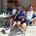 Cycle Cafe stop watching no cars drive by in quiet little village