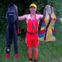 In 1985 i used the multi coloured triathlon shortie wet suit in 2015 (30 years later) i used a Zone3 triathlon wet suit
